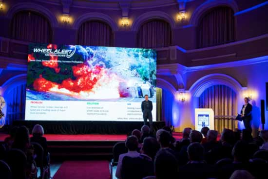 Wheel Alert Technologies delivers a 30 second pitch at the finals of Pitch@Palace